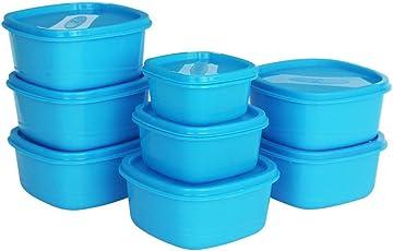 Princeware Plastic Storage Container Set, 8-Pieces, Blue