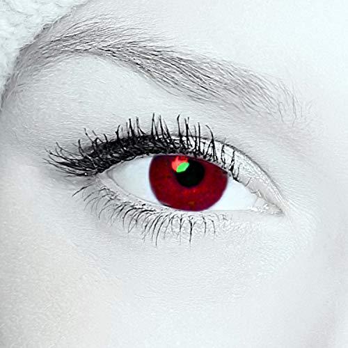 Farbige rote Kontaktlinsen Jahreslinsen ohne Stärke - mit GRATIS Kontaktlinsenbehälter - Für Halloween Fasching Karneval Fastnacht! - 1 Paar rote Crazy Fun red Dämon, Vampir, Blutaugen, Metatron, Zombie
