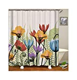 Daesar Antischimmel 3D Duschvorhang 150x200 Bunten Blume Badvorhang Vintage Polyester-Stoff