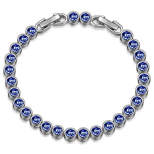 Susan Y Geschenk für Frauen Weihnachten Damen Armband mit Swarovski Kristall Blau Schmuck Geschenke Geburtstag Jubiläum Hochzeit Mutter Frau Tochter Mädchen Freundin Frauen Sie