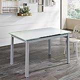 Pharao24 Ausziehbarer Tisch in Weiß Glas Stahl Ausführung 1