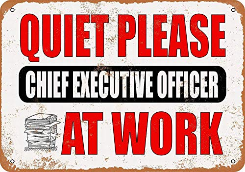 mefoll Wall Art Decor Signs Quiet Please - Chief Executive Officer at Work Funny Metal Signs 8x12 Tin Sign Retro Home Decor Bar Decor by -