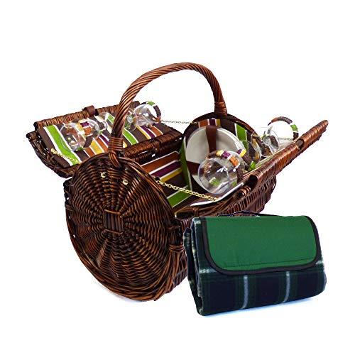 Panier pique-nique en osier Charme « Cantley » pour 4 personnes avec des accessoires assortis - Une idée idéale de cadeau pour l'anniversaire, mariage, retraite