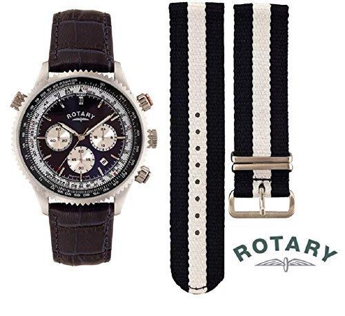 Rotary Herren austauschbar Leder & Leinwand Armbanduhr mit Multi Zifferblatt und Datum Funktion gs00127/05/Kit