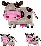 Set 3X Autocollant Sticker Voiture Moto Deco Enfant Animal Animaux Vache Ferme