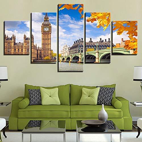 lsweia Leinwand Wandkunst Rahmen Wohnkultur 5 StückTurm Big Ben Poster Brücke Bilder Gemälde Modulare Drucke Poster (Ben Bruce Poster)