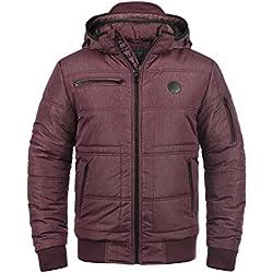 BLEND Boris Herren Winterjacke Jacke mit Stehkragen und abnehmbarer gefütterter Kapuze, Größe:M, Farbe:Wine Red (73812)