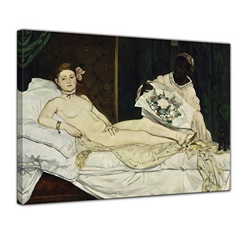 Leinwandbild Édouard Manet Olympia - 120x90cm quer - Keilrahmenbild Wandbild Alte Meister Kunstdruck Bild auf Leinwand Berühmte Gemälde