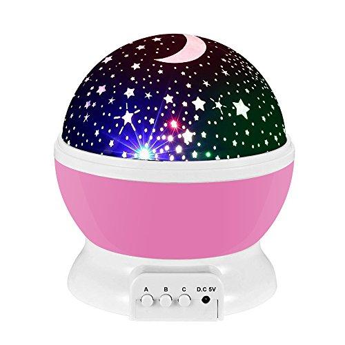 Lampada di Illuminazione Notturna, Rotante Stella Luna Cielo Proiettore per Bambini Camera da Letto (4 Perle Luminose LED,3 Luci di Modalità,Powered by DC5V/AAA Batteria e Cavo USB) (Rosa)