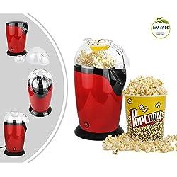 Leogreen - Appareil à Popcorn Eléctrique, Eclateur de Maïs, Rouge, Dimensions: 30,5 x 17 x 16,3 cm, Capacité de la tasse: 60 g