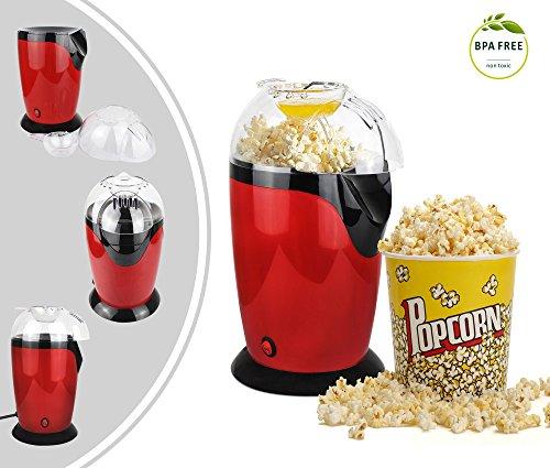 Leogreen - Maquina para Hacer Palomitas de Maíz Eléctrica, Maquina de Palomitas con Aire Caliente, Rojo, Tamaño: 30,5 x 17 x 16,3 cm, Capacidad del vaso: 60 g