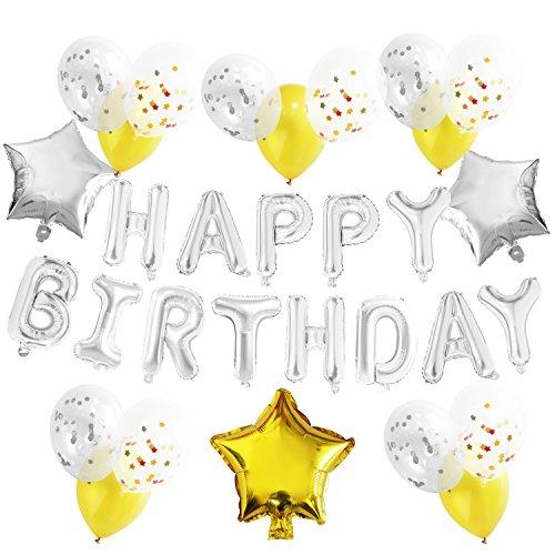 (KUNGYO Geburtstagsparty Dekorationen Kit für Erwachsene Kinder - Silber alles Gute zum Geburtstag