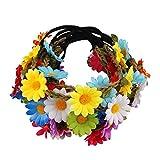Candygirl 10 Piezas Diadema de Flores de Multicolor Bohemia Corona de Pelo con Cinta Elástica Ajustable para Niña Niños Fiesta Playa