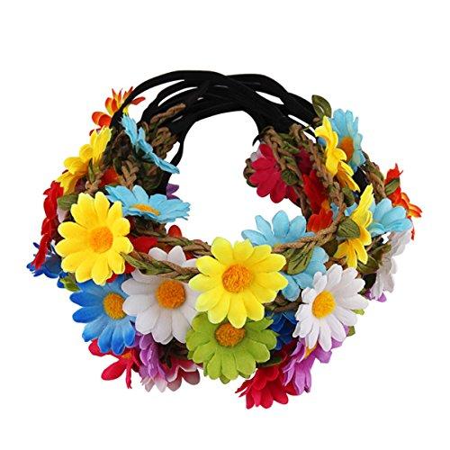 Candygirl 10 Stück Böhmische Girlande Stirnbänder Kleine Sonnenblume Haarbänder für Frauen Mädchen Hochzeit Strand Partei