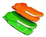 Pack de 2trineo de plástico con asas de cuerda y moldeado asiento, color naranja y verde