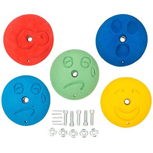 Ultrakidz - Set de presas de escalada, diferentes formas y motivos en distintos colores, diseño Caras