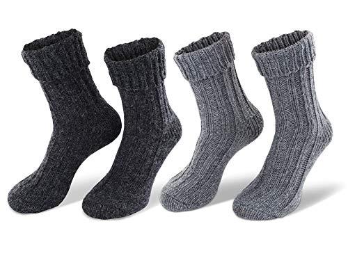 alpaca 2 pares de calcetines, colores naturales súper suaves y cálidos (43/46,...