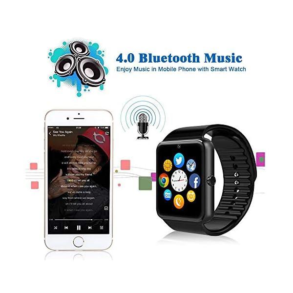 Reloj Inteligente, Smartwatch Bluetooth y Ranura para Tarjeta SIM con Rastreador de Actividad, Podómetro, Cronómetros Reloj de Fitness, Reloj Iinteligente Hombre Mujer niños Android/iOS Phone 9