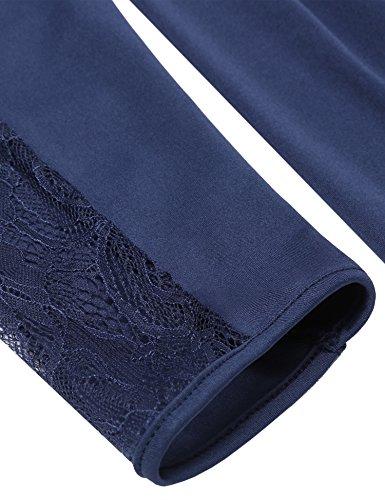 ZEARO Damen Spitze Patchwork Rückenfrei Kleid V Ausschnitt Übergröße Sexy Dress Dunkelblau