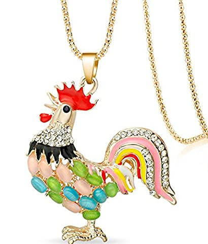 SaySure - Multicolor Cock Rooster Chicken Necklace Crystal