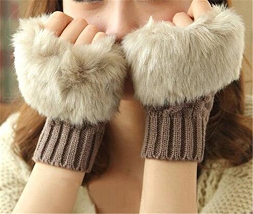 Bold N Elegant Faux Rabbit Hair Fur and Wool Knitted Winter Thermal Warm and Comfortable Fingerless Gloves Mittens Winter Accessories Hand Warmer Gloves for Women and Girls