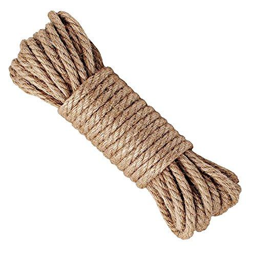 Hanfseil, starke 6 mm mit Jute-Seil, natürliches Hanf Seil Band Jute Twine Kunst Handwerk DIY Dekoration Geschenkverpackung, Garten, Haustiere, Hanf, Mehrzweck-Twine Rope 10 (32 FT) PACK 1 -