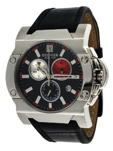 Régnier Dilys R1343 Men's Chronograph Black Leather Strap Watch 2041052
