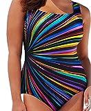 ACVIP Fette Frau Große Größe Streifen Bedruckter Einteiliger Badeanzug Damen Oversize Bademode(China 3XL/Büste 106.7 cm,Farbe 1)