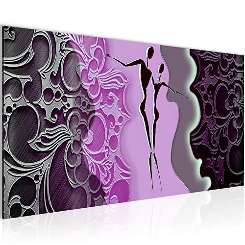 Photo Figures abstraites Décoration Murale 100 x 40 cm Toison - Toile Taille XXL Salon Appartement Décoration Photos d'art Violet 1 parties - 100% MADE IN GERMANY - prêt à accrocher 301512a