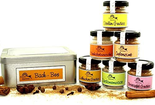 Back - Box mit 6 Gewürzen und Gewürzmischungen in der Geschenkdose aus der Finca Marina Gewürzmanufaktur