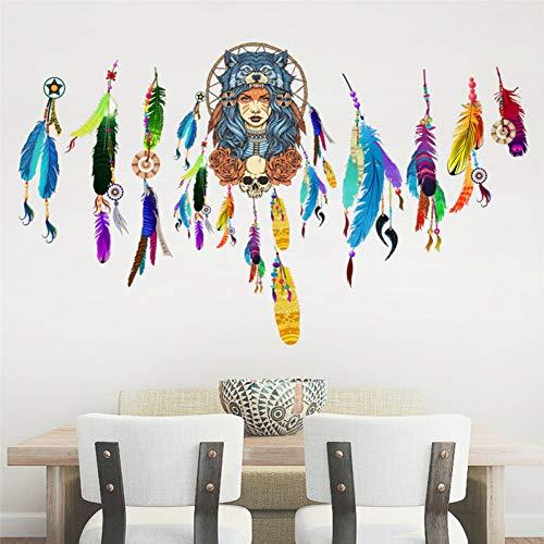 ZHANGQT Etiqueta De La Pared Atrapasueños PVC Etiqueta De La Pared Decoración Flying Feathers Night Symbol Indian Decal Dormitorio Sala De Estar Tatuajes De Pared Arte