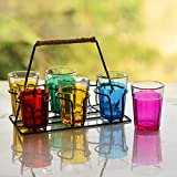 #7: Homesake Cutting Chai Glass With Stand, Multicolor Glasses (6 Glasses)