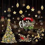 Jaysis Stickers Vitrine Noel Decoration Geant Autocollant Joyeux Merry Christmas Stickers Muraux Noel Stickers Vitre Fenetre Noel Stickers Porte Noel Autocollant Statique Amovible Stickers Pere Noel