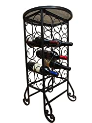 PTC Home & Garden 15-Bottle Wine Rack with Round Glass Table Top
