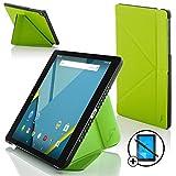 Forefront Cases Google Nexus 9 8.9 Zoll Origami Hülle Schutzhülle Tasche Smart Case Cover Stand - Rundum-Geräteschutz und intelligente Auto Schlaf/Wach Funktion + Stift & Displayschutz (GRÜN)