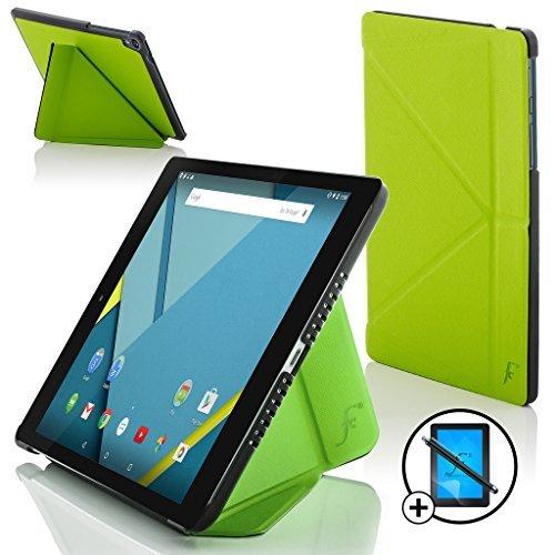 le Nexus 9 8.9 Zoll Origami Hülle Schutzhülle Tasche Smart Case Cover Stand - Rundum-Geräteschutz und intelligente Auto Schlaf/Wach Funktion + Stift & Displayschutz (GRÜN) ()