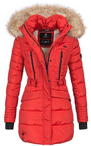 Marikoo Damen Winter Jacke Parka Mantel Winterjacke warm gefüttert Kapuze B608 [B608-Rot-Gr.S]