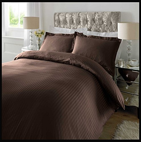 Adam Home 300TC Baumwolle Satin Stripe Bettbezug Oxford Kisenbezug(Chocolate,Double) DE - 300tc Bettbezug