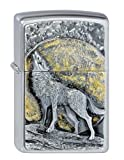 Zippo 2.003.038 Feuerzeuge Wolf at Moonlight Emblem - Collection 2013 - chrom gebürstet