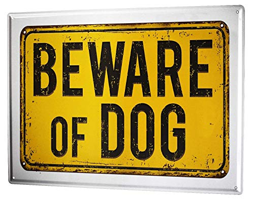 Garden Wall Plate (St574ony Metal Sign 12x16 Inches Poster Plaque Tin Plate Vintage Plaque Ravtive Vet Practice Beware Dog)