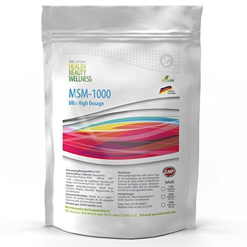 MSM (500 Tabletten a 1000mg Vegan) Ultra Hochdosiert | Big Pack XL | Methylsulfonylmethan 99,9% Rein | Pharmaqualität hergestellt in Deutschand nach ISO und GMP-Standard produziert | Preishammer