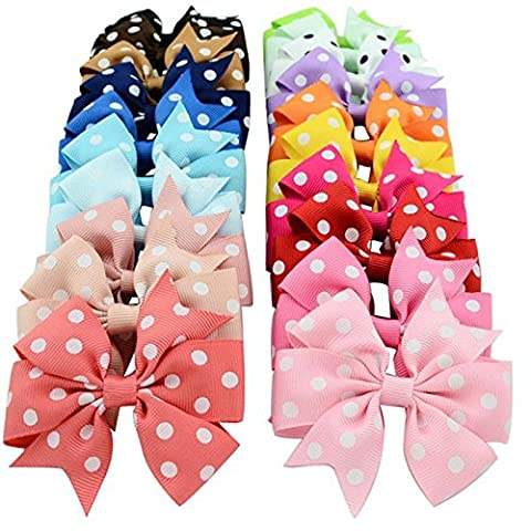 20 colors 8 cm Bow Style Polyester Hair Accessories for Girls Hair Clip