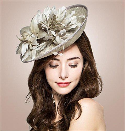 QXX Bowler Hut für Frauen, Königin Bankett Kopfschmuck Handarbeit Garn Ramie Feather Temperament ()