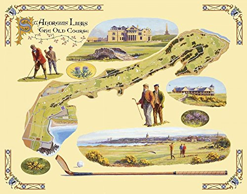 The Poster Corp Bernard Willington - Golf Course Map-St. Andrews Kunstdruck (55,88 x 71,12 cm) -