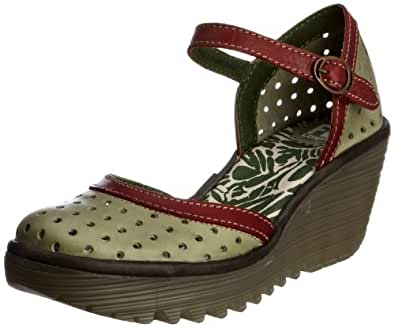 Fly London Women's Ying Perf Leather Smog/Red/Antracite Wedge Heels P500280001 4 UK
