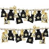 Papierdrachen 24 Adventskalender Stoffsäckchen zum Befüllen - schwarz gold - mit Bäkergarn und Klammern - Stoffbeutel zum selber Dekorieren - Geschenksäckchen