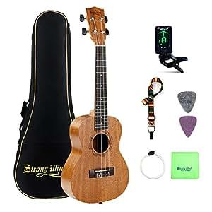 strong wind concert ukulele 23 inch mahogany ukulele with electronic tuner gig bag picks. Black Bedroom Furniture Sets. Home Design Ideas