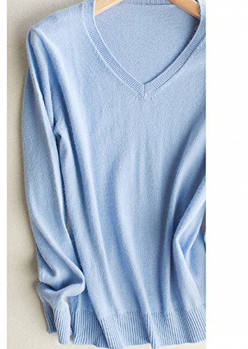 Good dress Kaschmir Pullover Allgleiches Pullover Allgleiches Pullover V-Ausschnitt Reine Farbe Primer Shirt Pullover , hellblau , XL