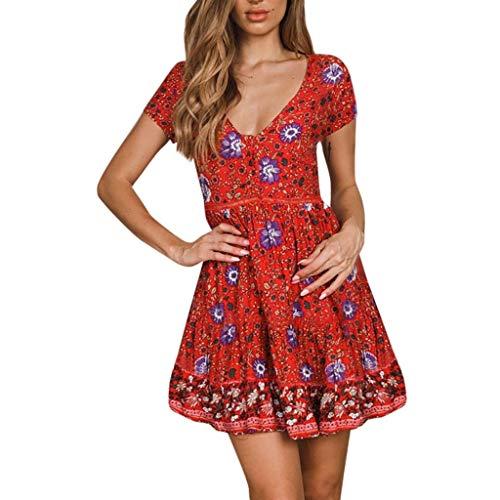 POPLY Damen Boho V-Ausschnitt Sommer Party Abend Strand Langes Kleid Sommerkleid Elegant Jahrgang Floral Drucken Cocktailkleider