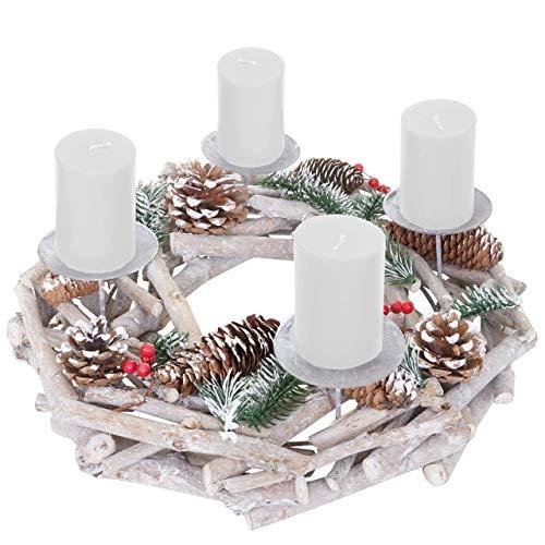 Mendler Adventskranz rund, Weihnachtsdeko Tischkranz, Holz Ø 35cm weiß-grau ~ mit Kerzen, weiß